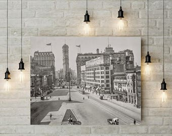 Old NYC Photo, 1911, Longacre Square South, Flat Iron Building New York Print, Black White Photography, Wall Art, Poster Art