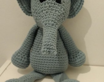 Elephant.Large Handmade crochet animal. This is Bridget.