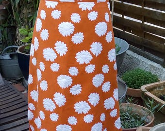 Orange long dress with white daisies