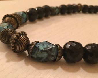 Vintage Black and Turquoise faceted glass bead Necklace with brass beads and accents