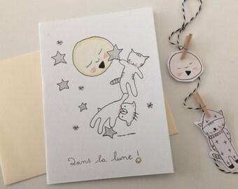 """Folded card for children """"Choumi et Michou dans la lune"""""""