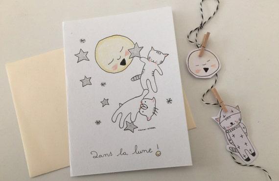 """Folded card """"Choumi et Michou dans la lune"""""""
