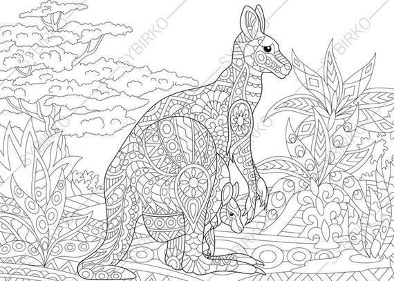 Adult Coloring Pages Kangaroo Family Zentangle Doodle Book Page For Adults Digital Illustration Instant Download Print