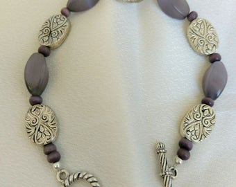 Purple / Gray Bracelet with Silver Accents and Toggle Clasp
