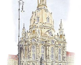 Dresden Frauenkirche with Lantern - color - original signed art print