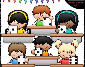 Desk Dice Kids Clip Art and B&W Set