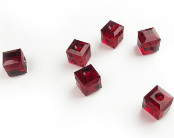 5 pcs Swarovski® 5601 8mm Square Bead in Siam