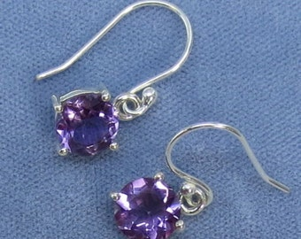 8mm Round Natural Amethyst Earrings - Sterling Silver - Leverbacks Available - 211308 - Free Shipping to the USA