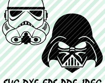 Star Wars Stormtrooper Darth Vader SVG DXF Vector Cut File Cricut Design Space Cameo Silhouette Studio Skywalker Craft Vinyl Decal Stencil