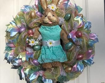 Easter Wreath, Deco Mesh Wreath, Easter, Easter Bunny Wreath, Deco Mesh Spring Wreaths, Brown and Teal Deco Wreath, Front Door Wreath
