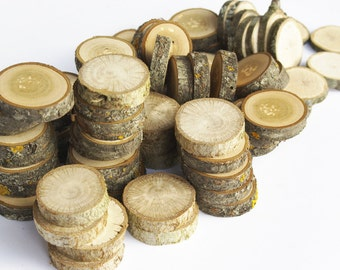 Bunch of tree slices, 50+ or 100+ wood slices, Various slices, Floristry supply, Small Tree Slices, Wood Circles, Branch Slices, Rustic Wood