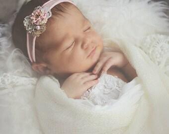 Newborn Tieback, Newborn Headband, Pink Jersey Tieback, Natural Tieback, Baby Girl Prop, Newborn Photography, Newborn Prop
