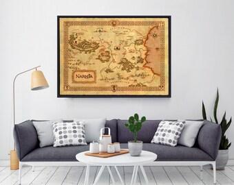 Chronicles Of Narnia, Narnia Map, Narnia Poster, Narnia Art, Narnia Nursery, Narnia Print, Map Of Narnia, Wall Art, Home Decor, Fantasy Maps