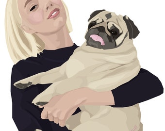 Custom portrait, Pet portrait, Pet memorial, Pug, Familyt portrait, Couples portrait, Personalized portrait, Digital portrait, Gift, Pets