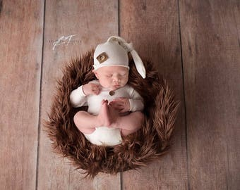 Newborn boys romper and hat set
