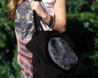 Fairtrade Organic Canvas Bag in Black. 'Star' Mandala Design