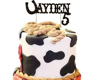 Custom Name Birthday Cake Topper Horseshoe, Cowboy, Western Topper Cake
