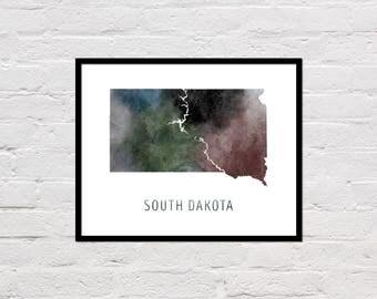South Dakota Map Print, South Dakota Art Print, South Dakota Printable, Watercolor Map, South Dakota Poster, Printable State Map, Download