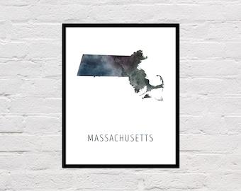 Massachusetts Map Print, Massachusetts Art, Massachusetts Printable Wall Art, Watercolor Map, Massachusetts Poster, Massachusetts State Map