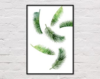 Palm Leaf Poster, Tropical Leaf Poster, Leaf Print, Printable Art, Palm Art Print, Minimalist Wall Art, Modern Wall Print, Digital Download