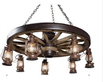 Wagon Wheel Chandelier Pendant Lights Rustic Chandelier Wagon Wheel Lights Western Chandelier Western Decor Rustic Decor Wild West
