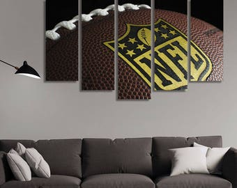 LARGE XL Football Rugby Ball Close-up Canvas Print NFL Label Leather Ball Canvas Big Seam Canvas Wall Art Print Home Decoration - Stretched