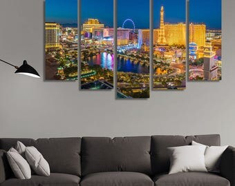 LARGE XL  Las Vegas at Night Canvas Print Aerial City View, Nevada, USA Canvas City Lights Canvas Wall Art Print Home Decoration - Stretched
