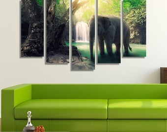 LARGE XL Single Elephant Canvas Print Waterfall Lake Jungle Canvas Daytime Wild Nature Canvas Wall Art Print Home Decoration - Stretched