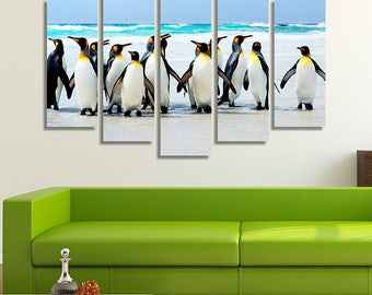 LARGE XL Muster of King Penguins Canvas Print Volunteer Point Falkland Islands Canvas Wall Art Print Home Decoration - Framed and Stretched