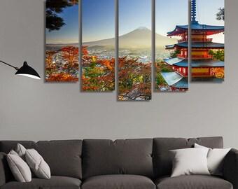 LARGE XL Canvas Print Mt. Fuji Red Pagoda Canvas at Sunset Autumn Fujiyoshida, Japan Canvas Wall Art Print Home Decoration - Stretched