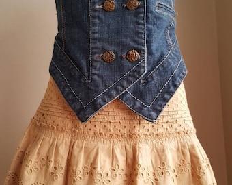 Jeans vest for Girls age  14 or women xs,vintage boho vest.