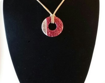 painted washer pendants on leather necklaces