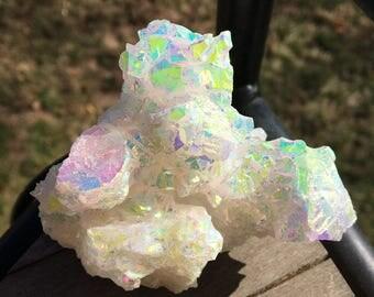 Unique Rainbow Aura White Aragonite