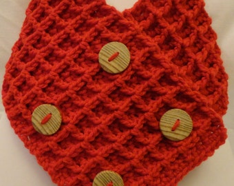 Kids crochet waffle stitch scarf with wooden buttons
