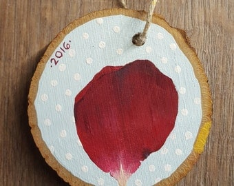 Wood/Tree Canvas Ornament - Red Rose Petal