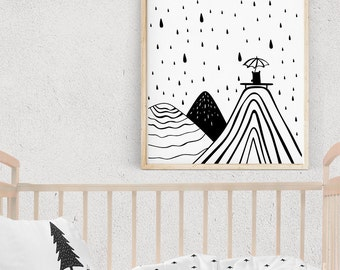 Black and White Wall Art, RAINY DAY Illustration, Monochrome RAINDROPS Nursery Wall Art, Printable Kids Gift, Kids Poster, Digital Download