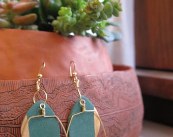Green Ceramic Leaf Earrings