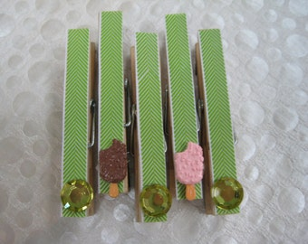 Decorative Clothespin Magnets, Decorative Magnet Set, Magnet Clips, Gift, Refrigerator Magnets, Memo Clips, Under 10, Hostess Gift /cp3