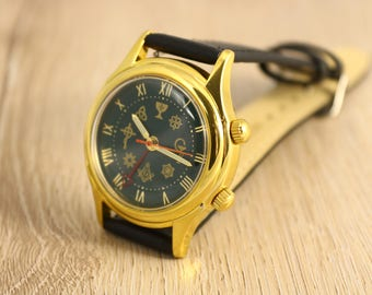 Vintage watch, Poljot Signal watch, Masonic mens watch, mechanical watch, ussr watch, russian watch, soviet watch, alarm watch, collectibles