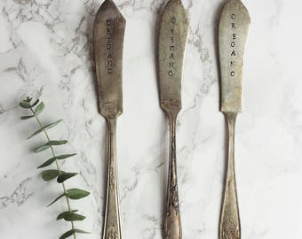 Garden Markers   Vintage Silverware Oregano Herb Labels   Wholesale Bulk Set