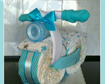 Diaper baby boy blue n white bicycle