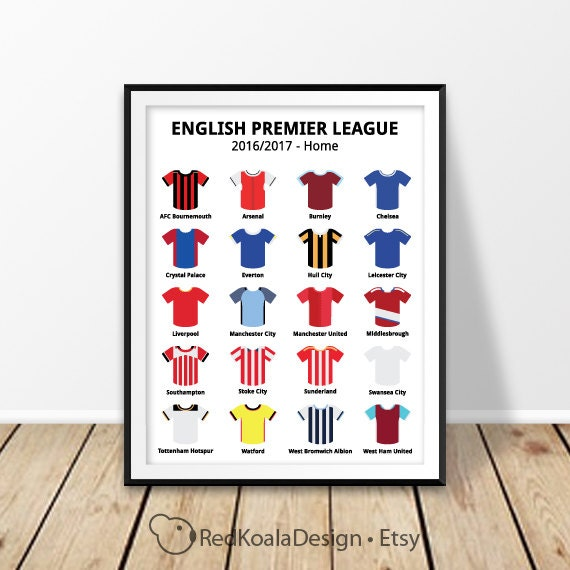 Football Print Sports Bar Decor English Premier League 2016