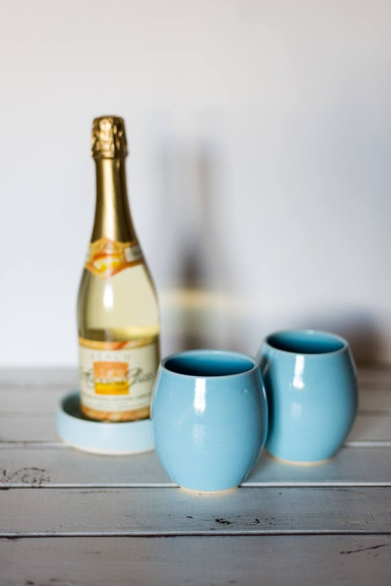 Handmade Ceramic Wine Tumbler in Blue Ready to Ship