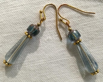Blue and gold earrings / free shipping