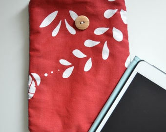 Red & white of iPadmini sleeve fleece sewing
