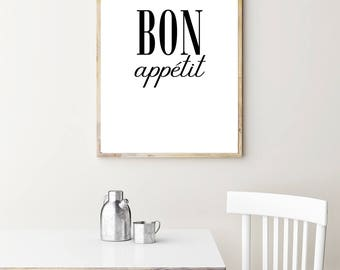 Bon Appetit Print - Kitchen Wall Art, Digital Poster, Instant Download, Kitchen Printable, Enjoy Your Meal, Nom Nom Nom, Food Art Print