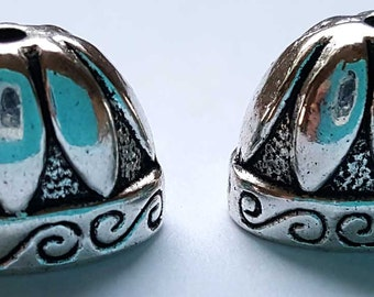 20mm Antiqued Silver finish, lead/nickel free metal alloy Fancy Oval bead Cones