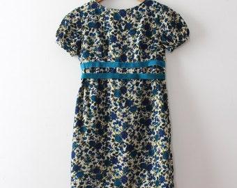 vintage 1960s floral dress // 60s blue mini dress