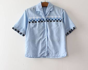 NOS vintage 1960s blouse // 60s blue button up top