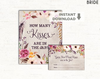 How Many Kisses Are in the Jar / Boho Floral Bridal Shower Game / Watercolor Flowers / Hens Night Party/ Cottage Chic Bachelorette Game FLO2